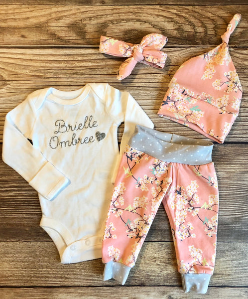 Cherry Blossom Newborn Outfit, Baby Girl outfit, Baby name outfit - Josie and James