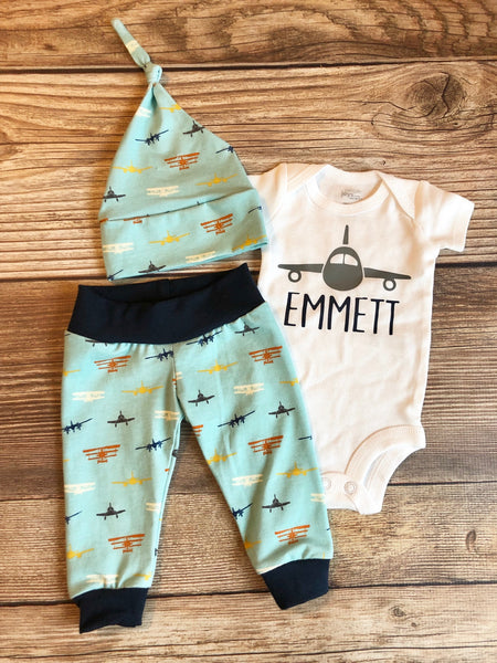 Light Blue Airplane Newborn Outfit, Jet, Airplane Design, Baby Name Outfit - Josie and James
