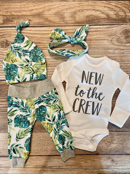Palm Leaf Newborn Baby Outfit, Gender Neutral, New to the Crew - Josie and James
