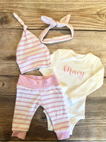 Pink Stripe Newborn Outfit - Josie and James