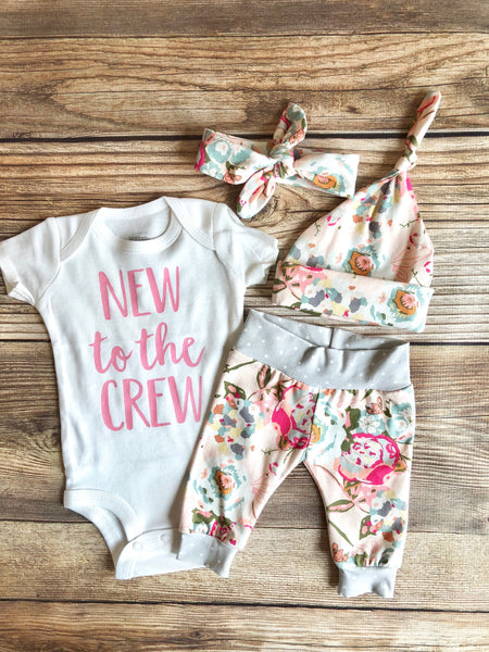 New to the Crew Sawyer Floral, Newborn Coming Home Outfit - Josie and James