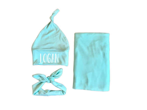 Mint solid swaddle set, gender neutral - Josie and James