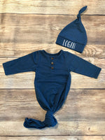 Navy Henley Gown, Hat Name - Josie and James