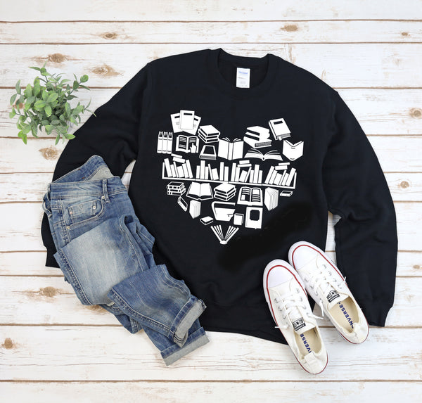 Heart of Books Sweatshirt, Unisex, Book Tee