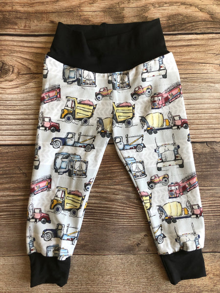 Gray Truck and Motorcycle Pants, Joggers, Leggings, Spring, Toddler Pants, - Josie and James