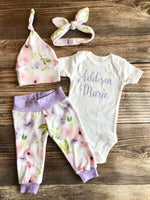 Emma Floral Newborn outfit, lavender, baby name outfit, Spring