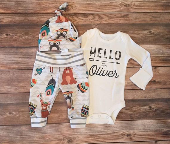 Woodland Coming Home Outfit, Newborn Outfit - Josie and James