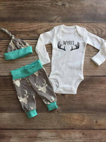 Mint Gray Buck Newborn Baby Name Outfit - Josie and James