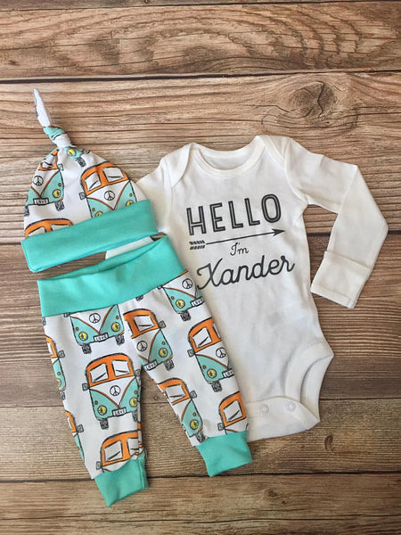 Retro Bus Newborn Coming Home Outfit, Newborn outfit, Going Home Outfit - Josie and James
