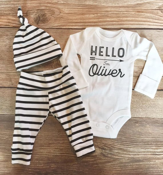 Black and White Stripe Newborn Outfit - Josie and James