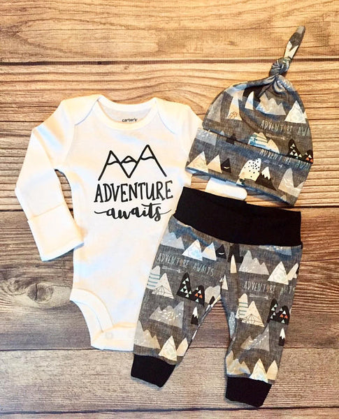 Charcoal Adventure Awaits, Baby Boy Outfit, Coming Home Outfit