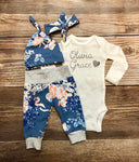 Powder Blue Floral Newborn Outfit, Baby Name Outfit, Coming Home Outfit, Going Home Outfit - Josie and James