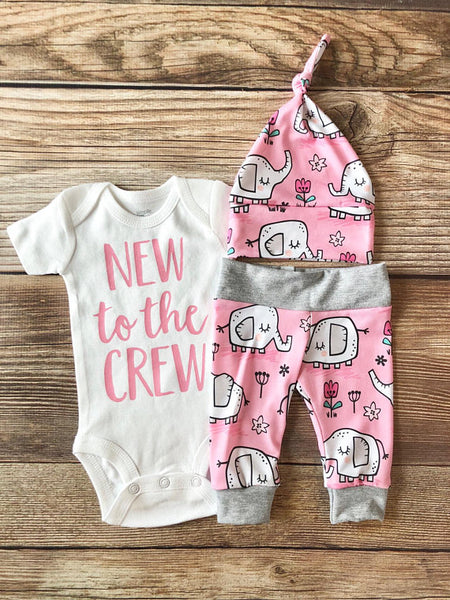 New to the Crew Pink Elephant Newborn Outfit, Coming Home Outfit, Going Home outfit - Josie and James