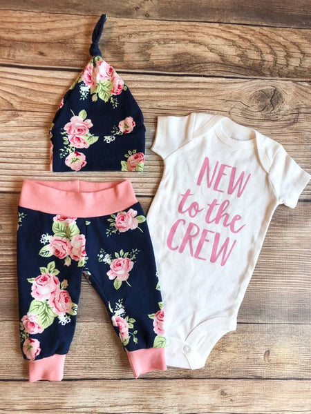 Navy Rose Newborn Coming Home Outfit, New to the Crew, Newborn Girl