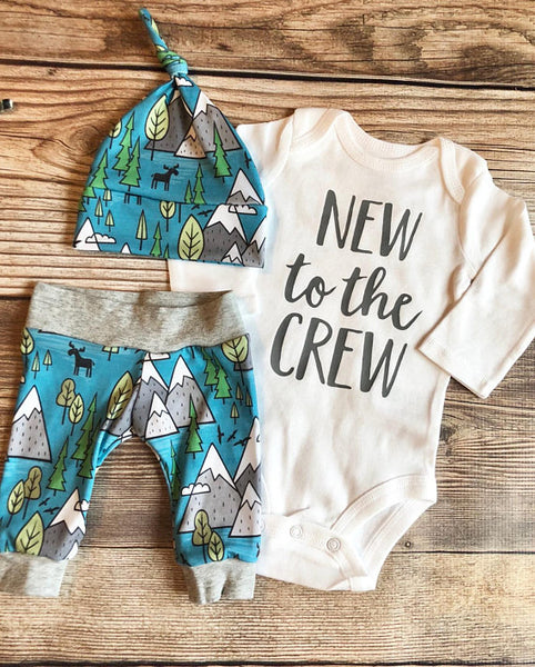 New to the Crew Blue Mountain Newborn outfit - Josie and James