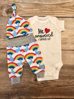 He Answered Rainbow Baby Newborn Outfit, Newborn Outfit, Rainbow Baby, Coming Home Outfit