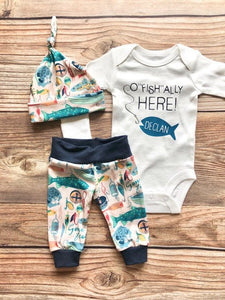 Ofishally Here Newborn Outfit, Gone Fishing, Newborn Fishing Outfit