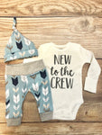 New to the Crew Blue Gray Arrow Coming Home Outfit, Newborn Outfit
