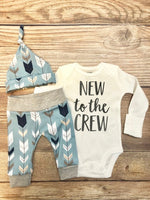 New to the Crew Blue Gray Arrow Coming Home Outfit, Newborn Outfit - Josie and James