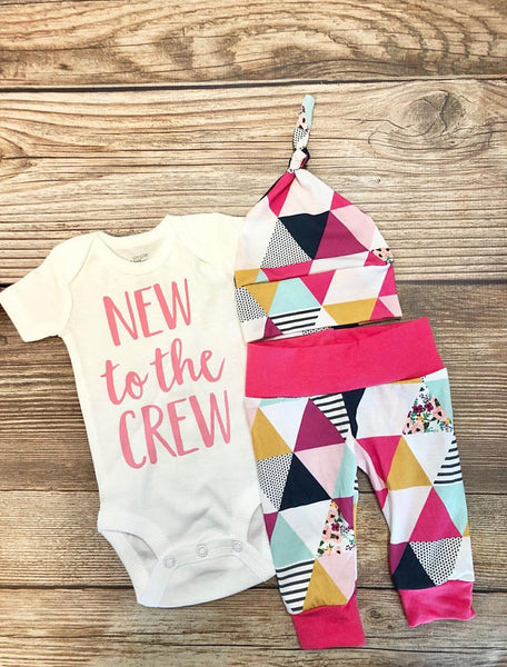 New to the Crew Garden Triangle Floral Newborn Outfit - Josie and James
