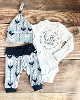 Mint Navy Arrow Newborn Outfit, Custom Name outfit, personalized - Josie and James