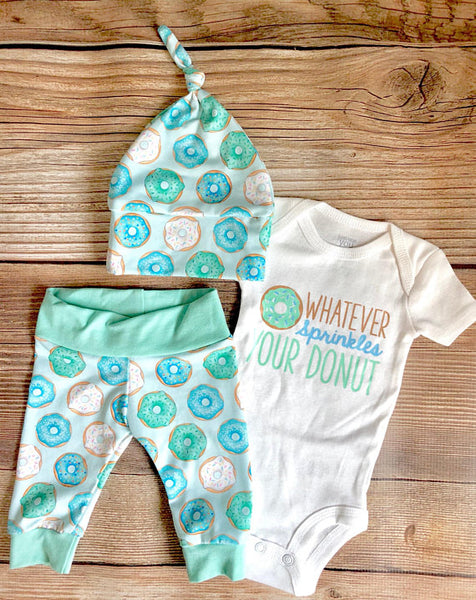 Mint and Blue Whatever Sprinkles Your Donuts Newborn Outfit - Josie and James