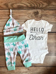 Mint Elephant Newborn Outfit