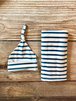 Teal Stripe Swaddle Set - Josie and James