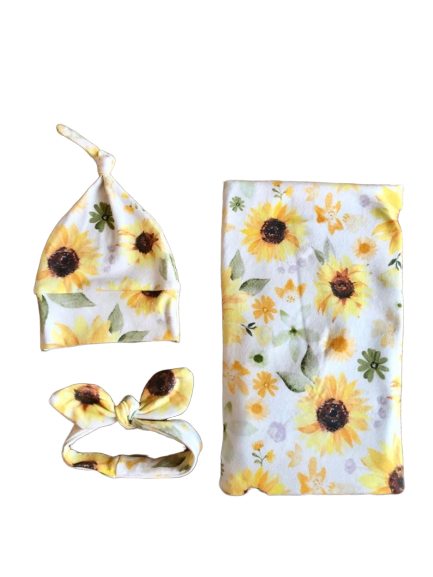 Sunflower floral swaddle set - Josie and James