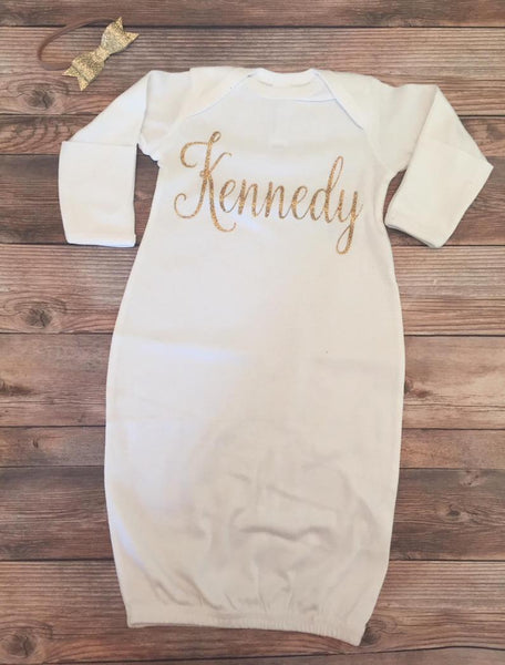 White with Gold Glitter Baby Name Gown, Baby Girl - Josie and James