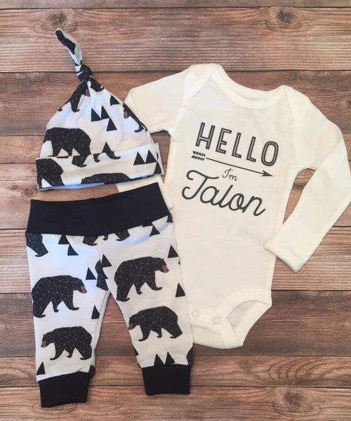 Hello I'm Black and White Bear Newborn Outfit, Baby Bear - Josie and James
