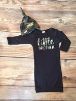 Little Brother Camo Baby Gown, Newborn Gown