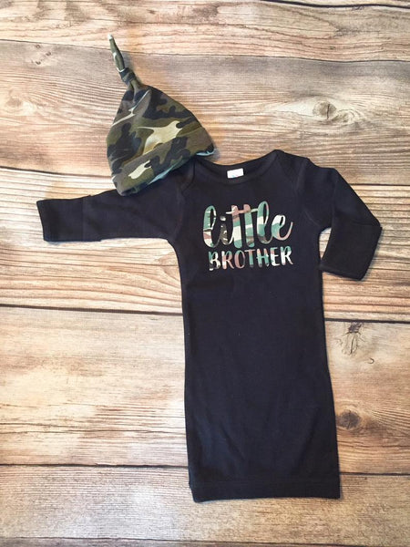 Little Brother Camo Baby Gown, Newborn Gown - Josie and James
