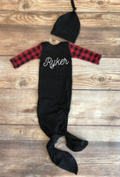 Buffalo Plaid and Black Newborn Name Gown, Newborn Gown - Josie and James