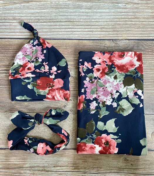 Nora floral swaddle set - Josie and James