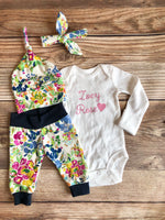 Florence Floral Newborn Outfit, Baby Name Outfit, Coming Home Outfit - Josie and James