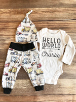 Hello World Gray Truck Vehicle newborn Outfit, coming home outfit, Spring, baby name outfit