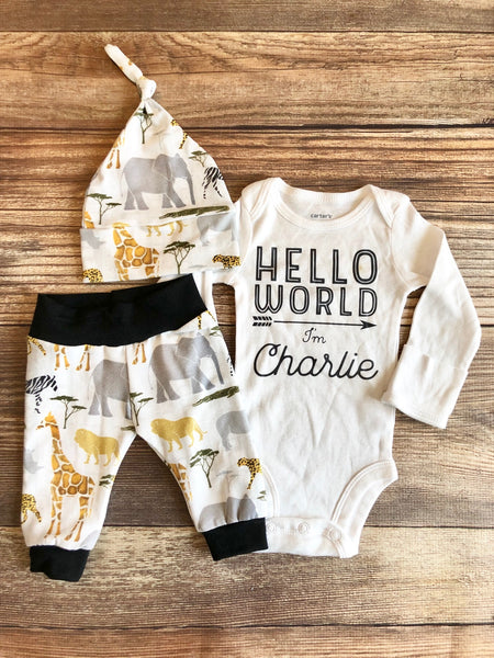 Hello World Gray Safari newborn Outfit, coming home outfit, Spring, baby name outfit