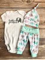 Little Peanut Mint Elephant, newborn outfit, coming home outfit - Josie and James