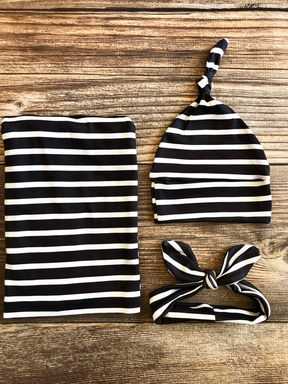 Black with White Stripe Swaddle Set, Gender Neutral Swaddle Set, Spring