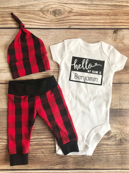Hello My Name is Buffalo Plaid Newborn Outfit, Coming Home outfit, Black and Red