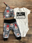 Hello My Name is Santa on Gray Newborn Outfit, Christmas Outfit