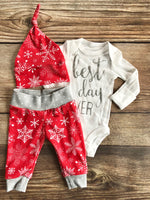 Best Day Ever, Red Snowflake Christmas Outfit, Newborn Outfit