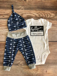 Hello My Name is Navy Archer Newborn outfit, Arrow, Navy, Boy Outfit