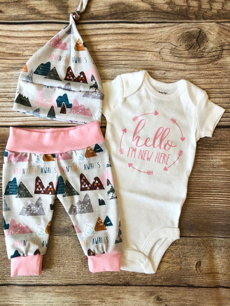 Pink Adventure Awaits Newborn Outfit - Hello I'm New Here - Josie and James
