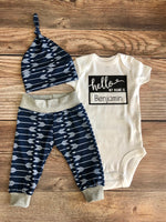 Hello My Name is Navy Archer Newborn outfit, Arrow, Navy, Boy Outfit - Josie and James