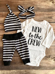 Black with White Stripe newborn outfit, new to the crew, gender neutral, Spring - Josie and James