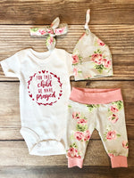 For this Child we Have Prayed Silver Rose Newborn Girl Outfit, Spring