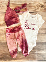 Hi I'm Berry Tie Dye Newborn Outfit - Josie and James