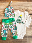 My First Christmas Dino Newborn Outfit, Christmas Outfit, Dinosaur - Josie and James
